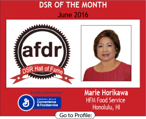 June 2016, Marie Horikawa, HFM Foodservice, DSR of the Month