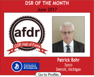 June 2017, Pat Bohr, Sysco, DSR of the Month