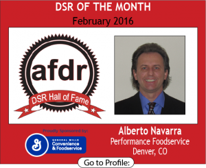 February 2016, Alberto Navarra, Performance Foodservice, DSR of the Month