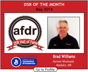 May 2014,  Brad Williams, Hermel Wholesale, DSR of the Month