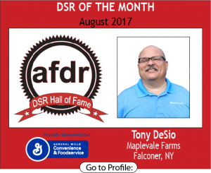 August 2017, Maplevale Farms,Tony DeSio, DSR of the Month