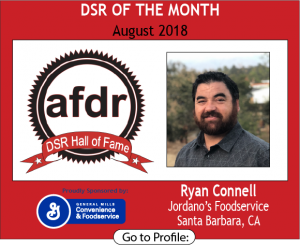 August 2018, Jordano's Foodservice , Ryan Connell, DSR of the Month