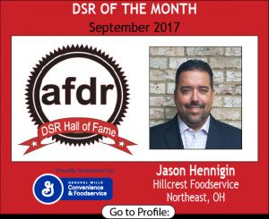 September 2017, Hillcrest Foodservice, Jason Hennigin, DSR of the Month