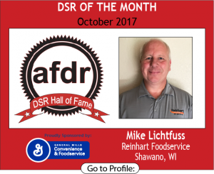 October 2017, Reinhart Foodservice, Mike Lichtfuss, DSR of the Month