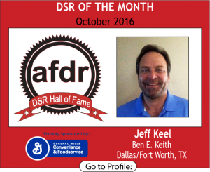 October 2016, Jeff Keel, BEN E. KEITH, DSR of the Month