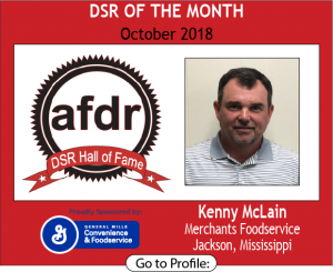 October 2018, Merchants Foodservice, Kenny McLain, DSR of the Month