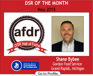 May 2018,  Gordon Food Service, Shane Bybee, DSR of the Month