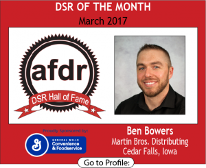 March 2017, Ben Bowers, Martin Bros. Distributing, DSR of the Month