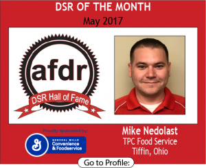 May 2017, Mike Nedolast, TPC Food Service, DSR of the Month