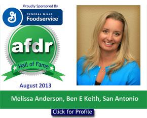 August 2013, DSR of the Month, Melissa Anderson, Ben E Keith, San Antonio